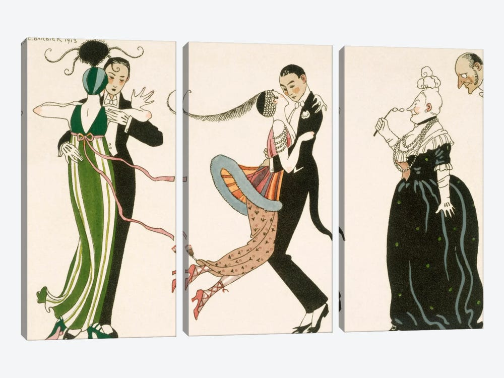 The Madness of the Day, engraved by H. Reidel by Georges Barbier 3-piece Canvas Artwork