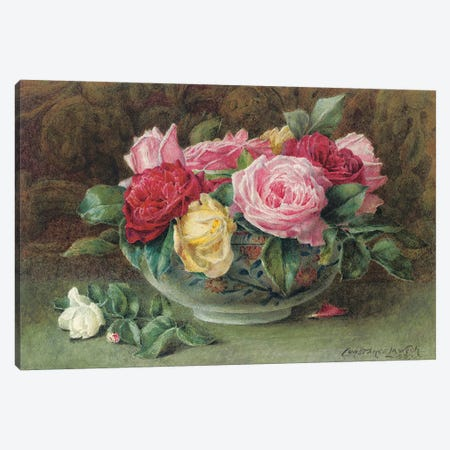 Still life with a bowl of pink, yellow and red roses, 1883  Canvas Print #BMN5000} by Constance Lawson Canvas Art Print