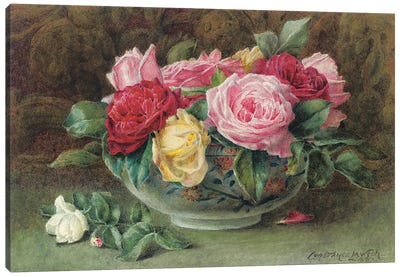 Still life with a bowl of pink, yellow and red roses, 1883 Canvas Art Print