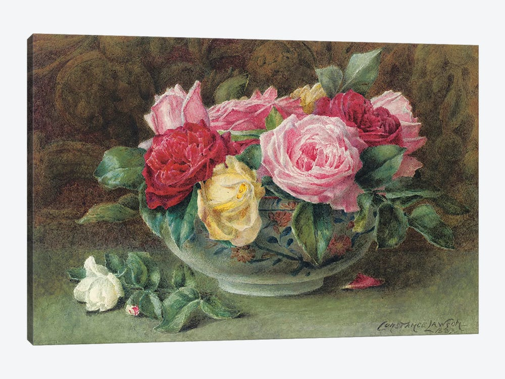 Still life with a bowl of pink, yellow and red roses, 1883  by Constance Lawson 1-piece Canvas Print