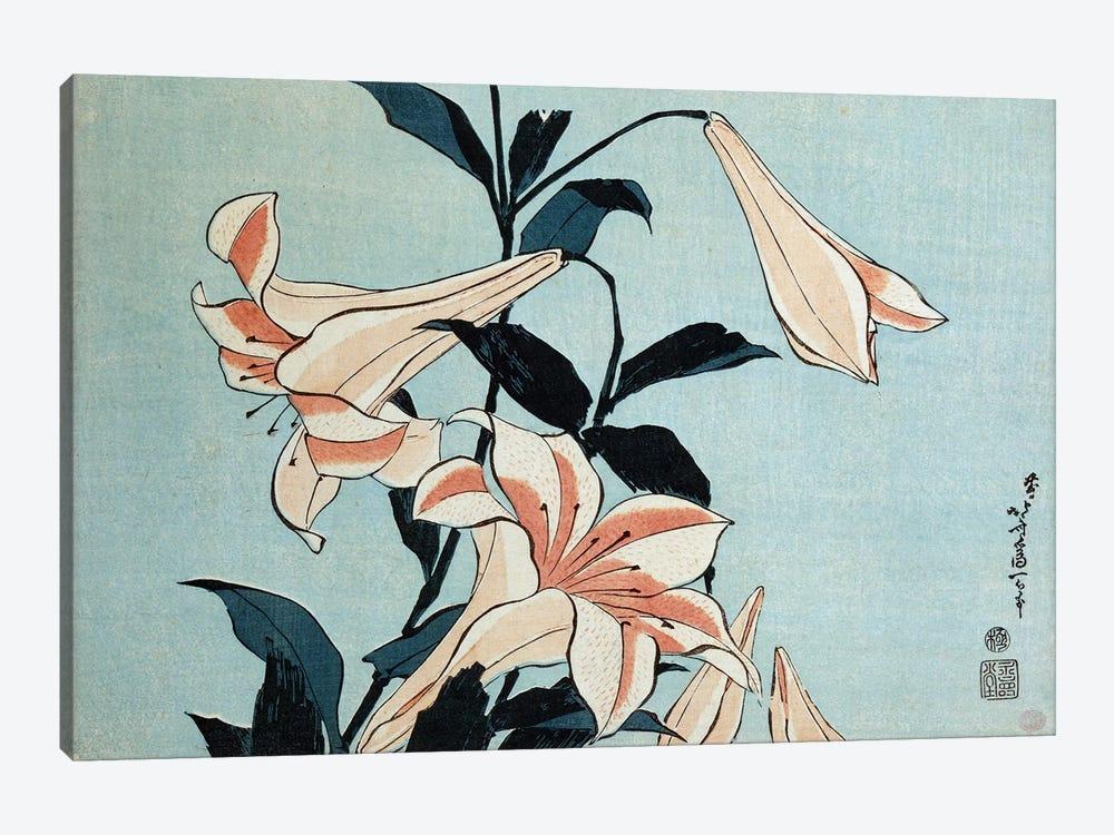 Trumpet lilies  by Katsushika Hokusai 1-piece Canvas Wall Art