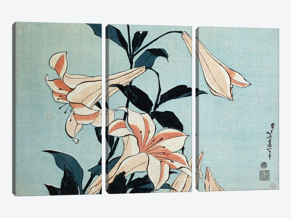 Trumpet lilies  by Katsushika Hokusai 3-piece Canvas Art