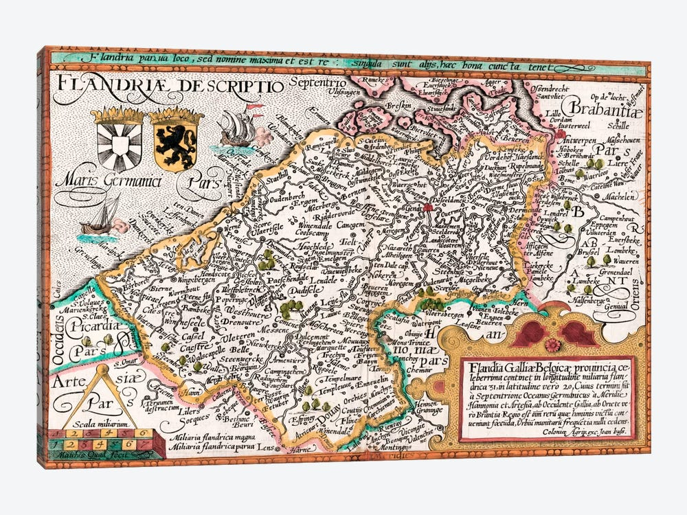 Map of Flanders, after cartographer Matthias Quad from his 'Fasciculus Geographicus', later hand colouring  by Johannes Bussemacher 1-piece Canvas Wall Art