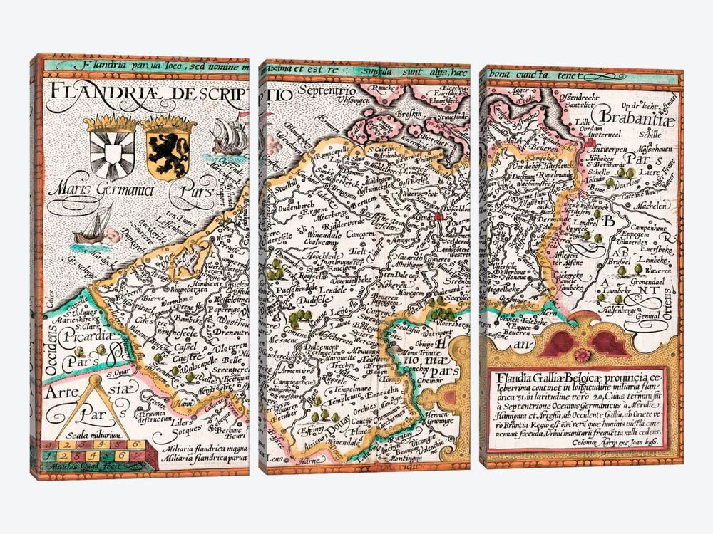 Map of Flanders, after cartographer Matthias Quad from his 'Fasciculus Geographicus', later hand colouring  by Johannes Bussemacher 3-piece Canvas Artwork