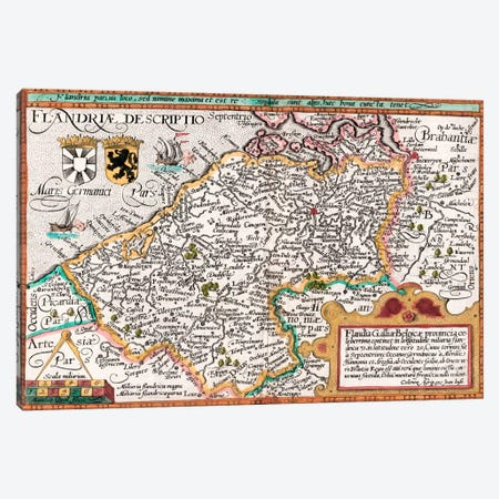 Map of Flanders, after cartographer Matthias Quad from his 'Fasciculus Geographicus', later hand colouring  Canvas Print #BMN5005} by Johannes Bussemacher Canvas Wall Art