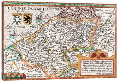 Map of Flanders, after cartographer Matthias Quad from his 'Fasciculus Geographicus', later hand colouring  Canvas Art Print