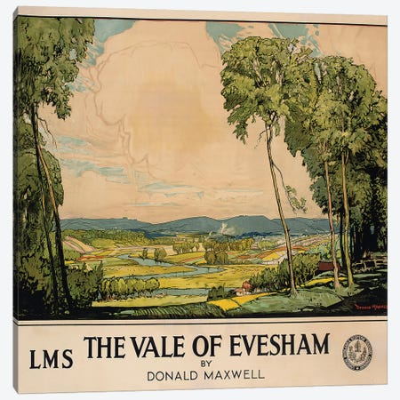 The Vale of Evesham, poster advertising London, Midland and Scottish Railway  Canvas Print #BMN5013} by Donald Maxwell Canvas Artwork