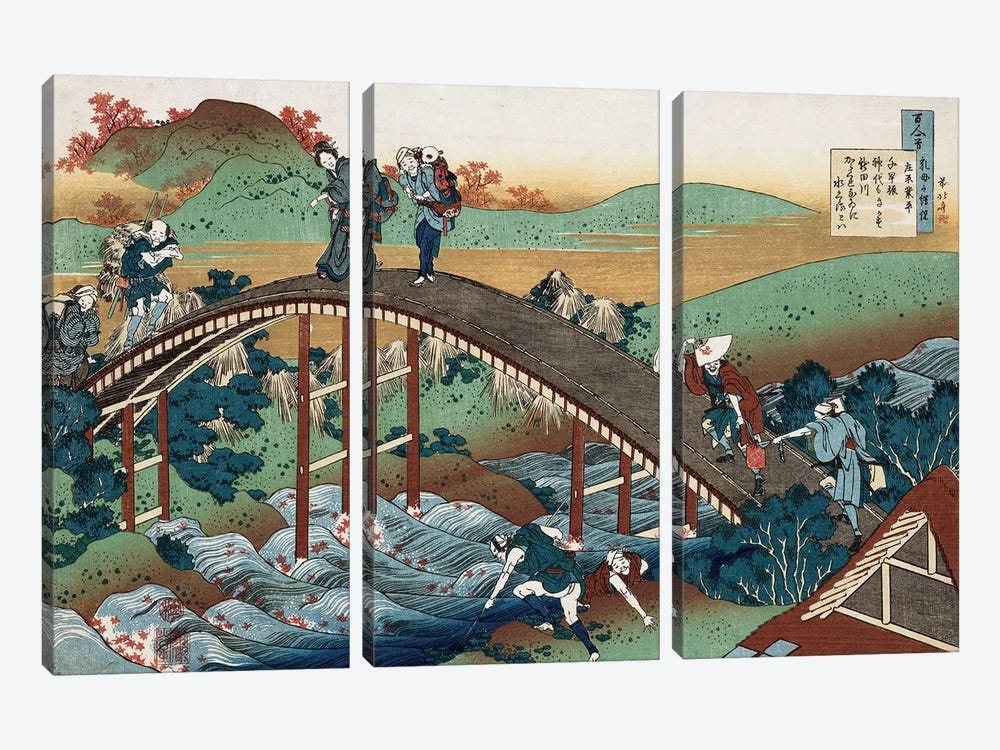 Autumn leaves on the Tsutaya River, from the series 'One Hundred Poems as Told by the Nurse', c.1839  by Katsushika Hokusai 3-piece Canvas Art