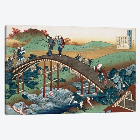 Autumn leaves on the Tsutaya River, from the series 'One Hundred Poems as Told by the Nurse', c.1839  Canvas Print #BMN5021} by Katsushika Hokusai Canvas Art Print