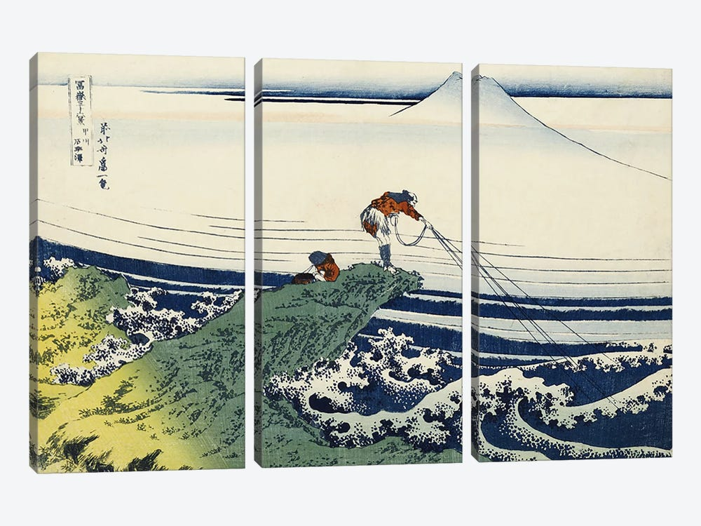 Kajikazawa in Kai Province, from the series 'Thirty-Six Views of Mount Fuji'  by Katsushika Hokusai 3-piece Canvas Artwork