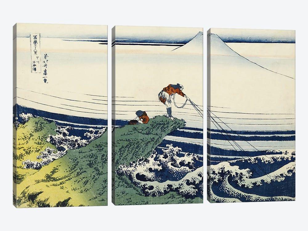 Kajikazawa in Kai Province, from the series 'Thirty-Six Views of Mount Fuji'  by Katsushika Hokusai 3-piece Canvas Artwork
