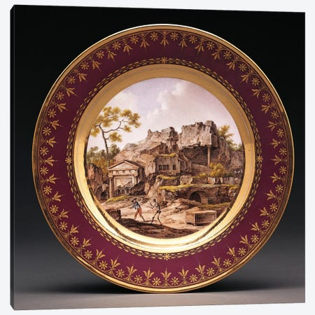 Sevres fond pourpre topographical plate  Canvas Print #BMN5028} by French School Canvas Print