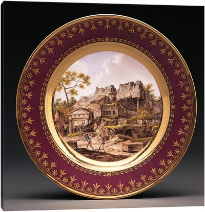 Sevres fond pourpre topographical plate  Canvas Art Print