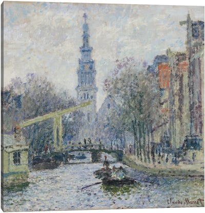 Canal a Amsterdam, 1874  Canvas Art Print