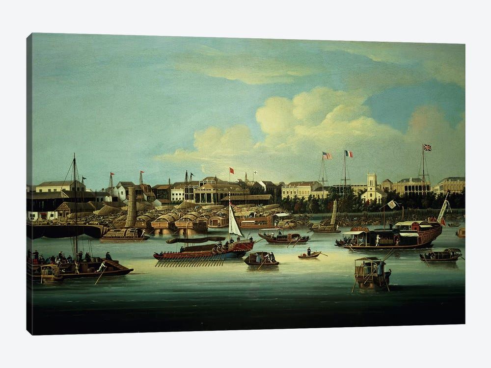 A View of the Hongs by George Chinnery 1-piece Canvas Art Print