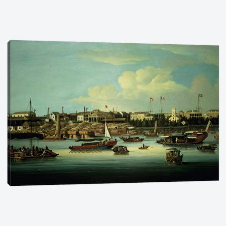 A View of the Hongs 3-Piece Canvas #BMN502} by George Chinnery Canvas Art Print