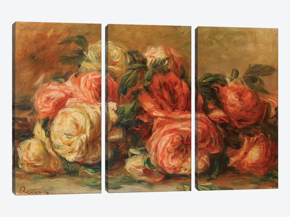 Discarded Roses  by Pierre-Auguste Renoir 3-piece Canvas Art Print