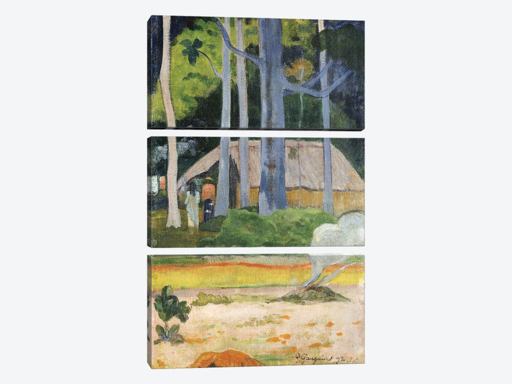 Hut in the Trees, 1892  by Paul Gauguin 3-piece Canvas Art