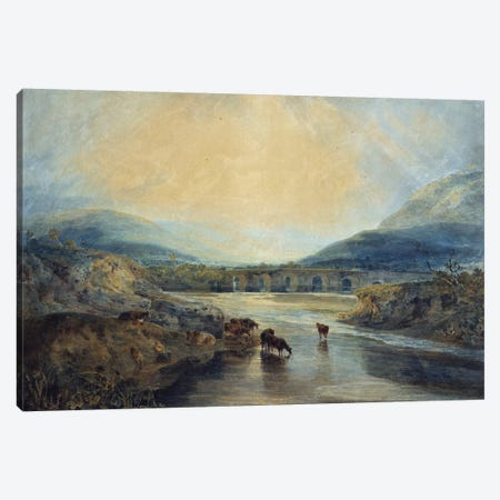 Abergavenny Bridge, Monmouthshire: Clearing Up After a Showery Day  Canvas Print #BMN5047} by J.M.W. Turner Canvas Wall Art