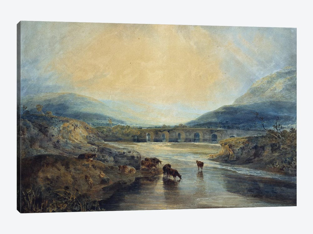 Abergavenny Bridge, Monmouthshire: Clearing Up After a Showery Day  by J.M.W. Turner 1-piece Canvas Art