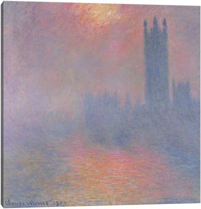 The Houses of Parliament, London, with the sun breaking through the fog, 1904  Canvas Art Print