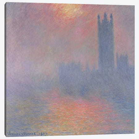 The Houses of Parliament, London, with the sun breaking through the fog, 1904  Canvas Print #BMN504} by Claude Monet Canvas Wall Art