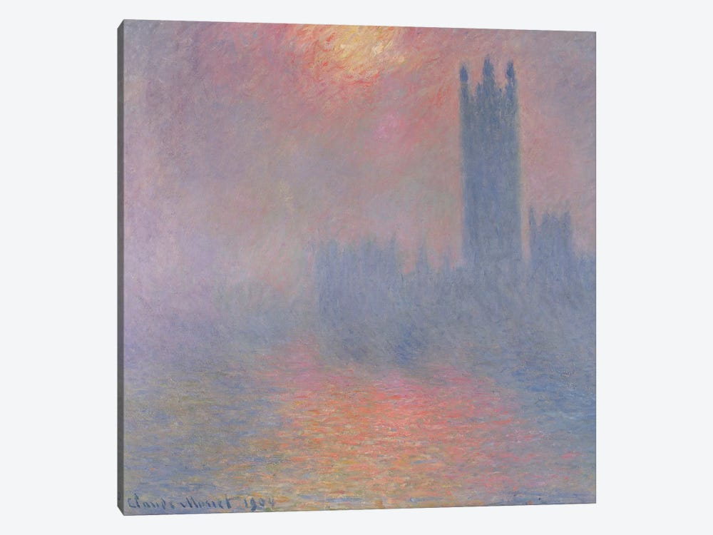 The Houses of Parliament, London, with the sun breaking through the fog, 1904  by Claude Monet 1-piece Art Print