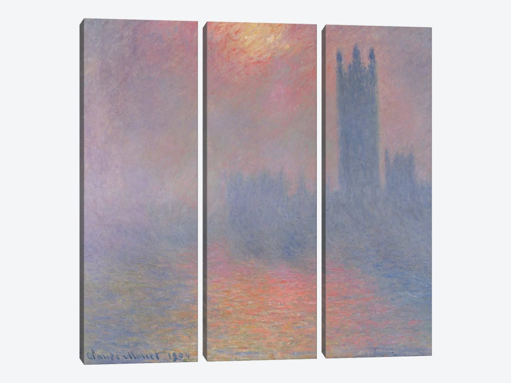 The Houses of Parliament, London, with the sun breaking through the fog, 1904  by Claude Monet 3-piece Canvas Art Print