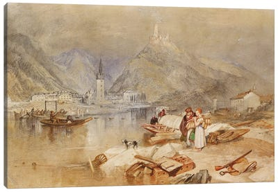 Berncastel on the Moselle with the Ruins of Landshut, c.1834  Canvas Art Print