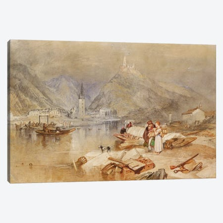 Berncastel on the Moselle with the Ruins of Landshut, c.1834  Canvas Print #BMN5051} by J.M.W. Turner Canvas Artwork