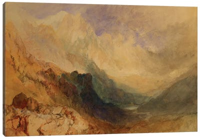 An Alpine Valley, probably the Val d'Aosta  Canvas Art Print