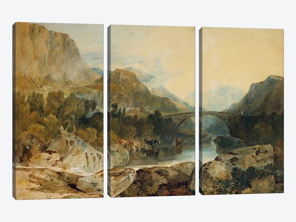 Rosthwaite Bridge, Borrowdale, c.1802  by J.M.W. Turner 3-piece Canvas Wall Art