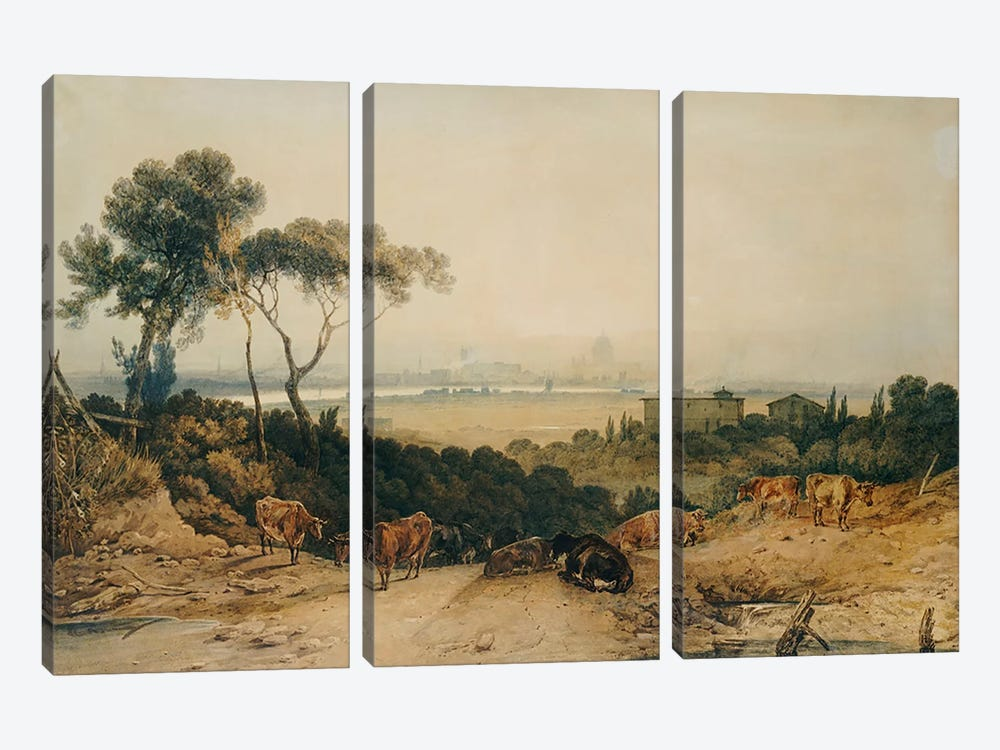 London: Autumnal Morning by J.M.W Turner 3-piece Canvas Art Print