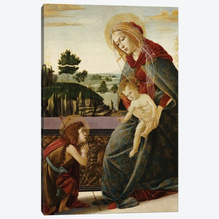 The Madonna and Child with the Young St. John the Baptist in a Landscape  Canvas Print #BMN5056} by Sandro Botticelli Canvas Print
