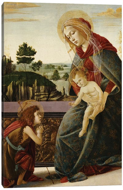 The Madonna and Child with the Young St. John the Baptist in a Landscape  Canvas Art Print