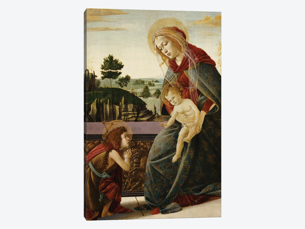 The Madonna and Child with the Young St. John the Baptist in a Landscape  by Sandro Botticelli 1-piece Canvas Wall Art
