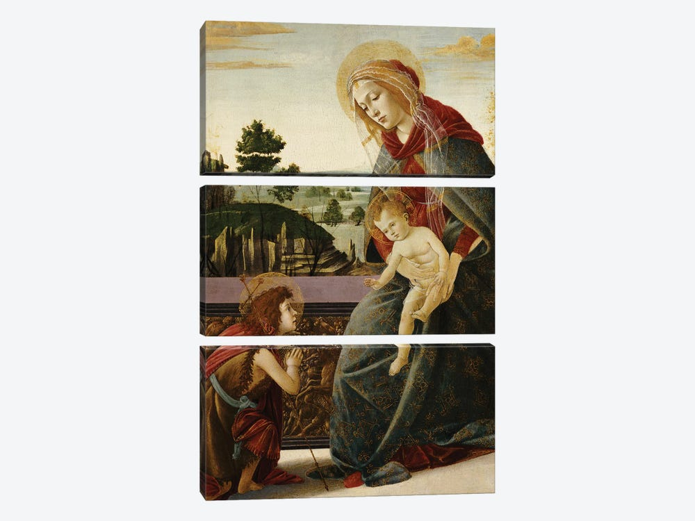 The Madonna and Child with the Young St. John the Baptist in a Landscape  by Sandro Botticelli 3-piece Canvas Art