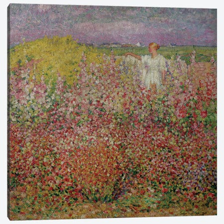 Mrs. Russell Amongst the Flowers at Belle Isle, 1927  Canvas Print #BMN505} by John Peter Russell Canvas Wall Art