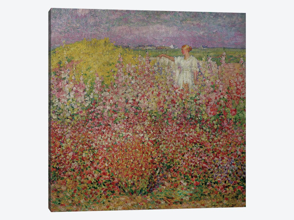 Mrs. Russell Amongst the Flowers at Belle Isle, 1927  by John Peter Russell 1-piece Canvas Artwork