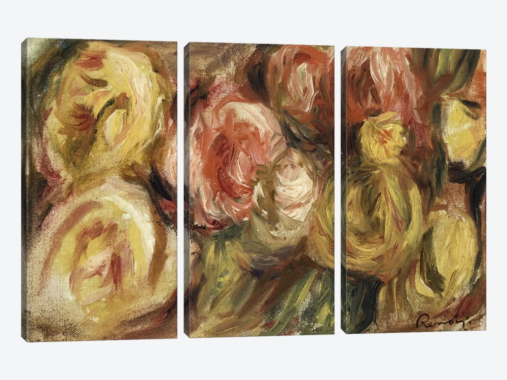 Roses, 1919  by Pierre-Auguste Renoir 3-piece Canvas Print