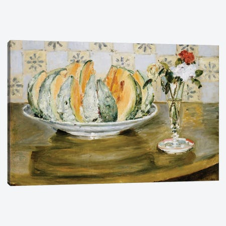 Still life of a melon and a vase of flowers, c.1872  3-Piece Canvas #BMN5061} by Pierre-Auguste Renoir Canvas Print