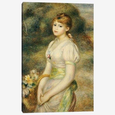 Young Girl with a Basket of Flowers  Canvas Print #BMN5062} by Pierre-Auguste Renoir Art Print