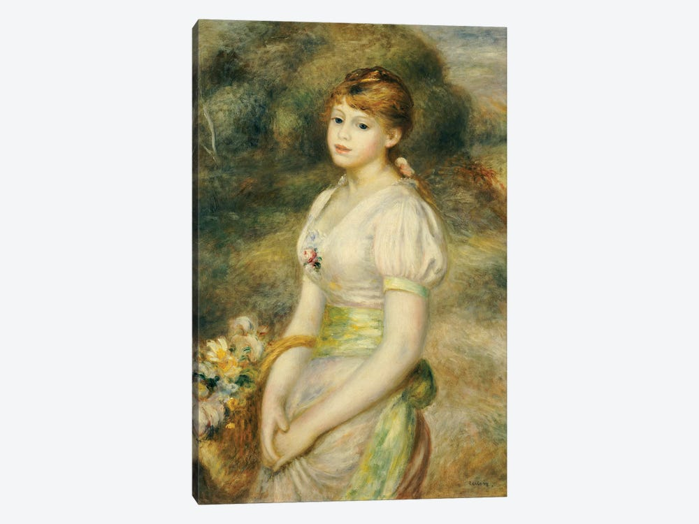Young Girl with a Basket of Flowers  by Pierre-Auguste Renoir 1-piece Canvas Art Print