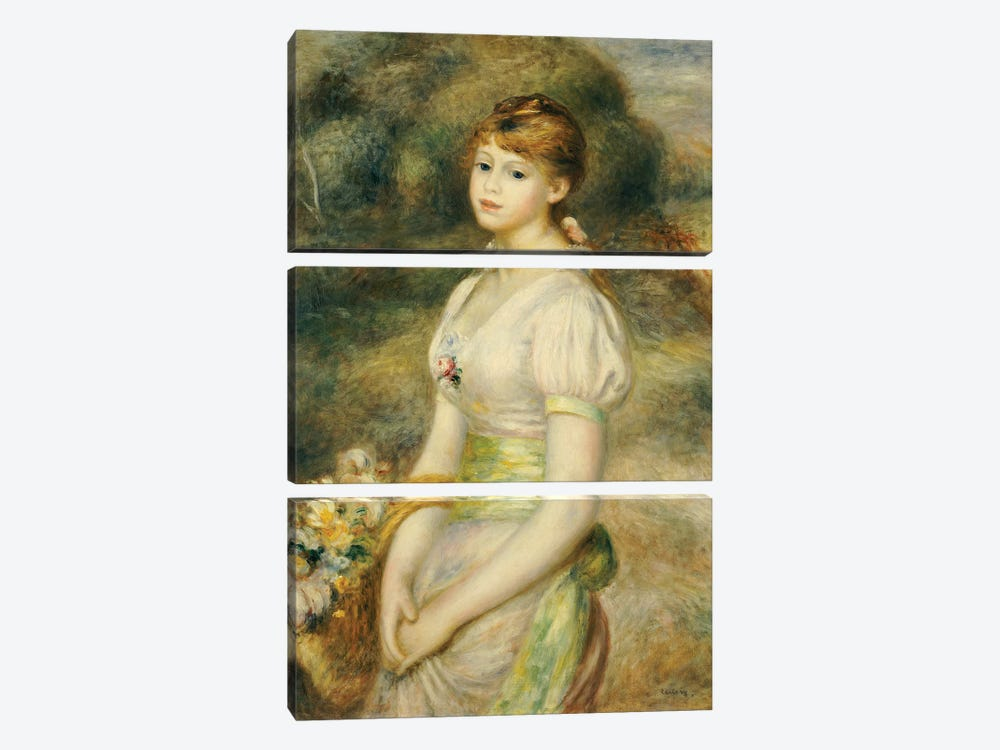 Young Girl with a Basket of Flowers  by Pierre-Auguste Renoir 3-piece Canvas Print