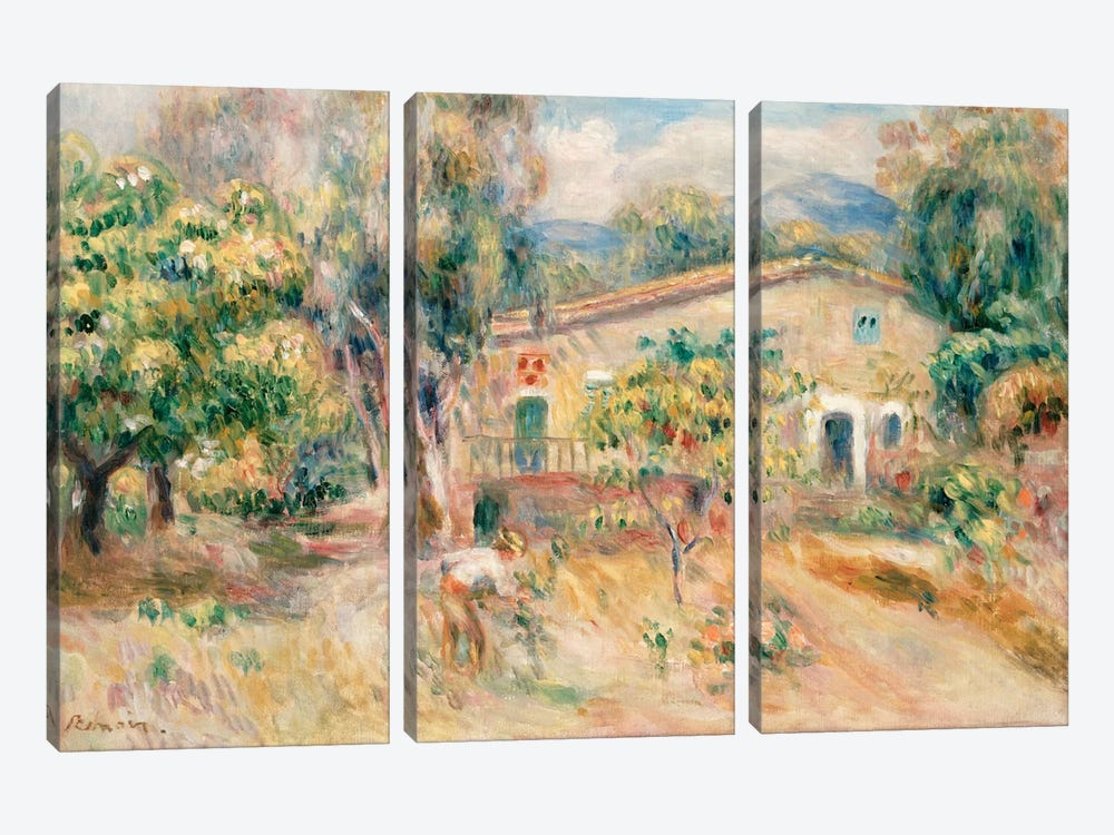 Collettes Farmhouse, Cagnes, 1910  by Pierre-Auguste Renoir 3-piece Canvas Artwork