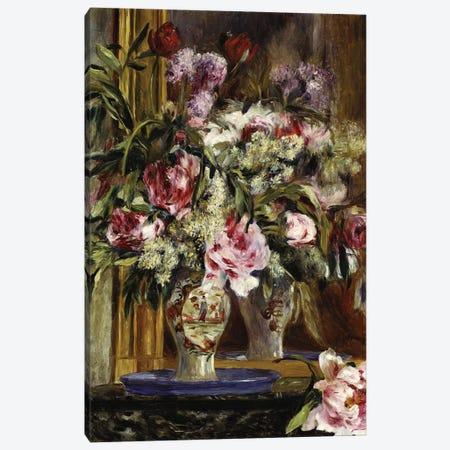 Vase of Flowers, 1871  Canvas Print #BMN5064} by Pierre-Auguste Renoir Canvas Artwork