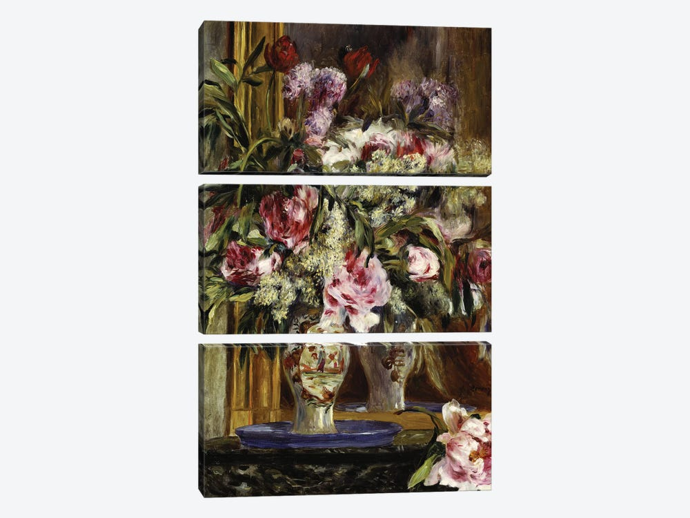 Vase of Flowers, 1871  by Pierre-Auguste Renoir 3-piece Canvas Print