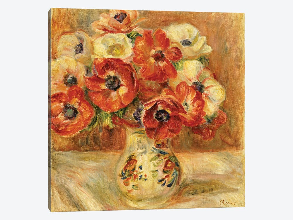 Still Life with Anemones  by Pierre-Auguste Renoir 1-piece Canvas Art Print