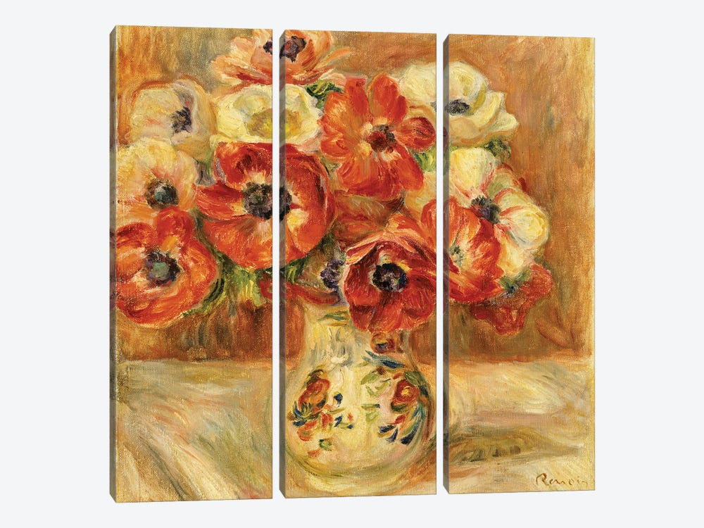 Still Life with Anemones  by Pierre-Auguste Renoir 3-piece Canvas Art Print