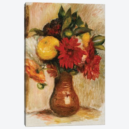Bouquet of Flowers in a Stone Jug  3-Piece Canvas #BMN5078} by Pierre-Auguste Renoir Canvas Artwork
